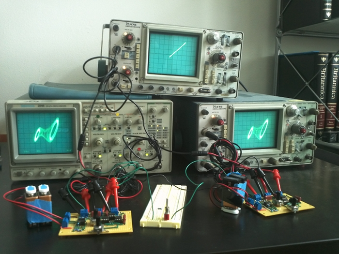 two synchronized circuits on oscilloscopes