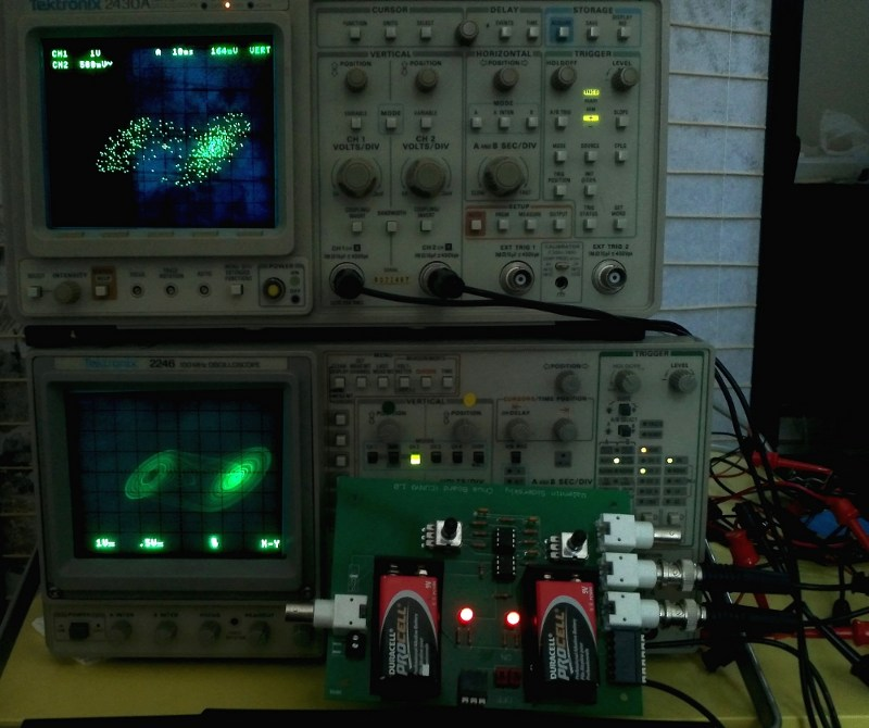 Circuit board with double scroll attractors on analog and digital scopes